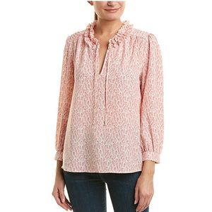 Joie Printed Pink White Blouse
